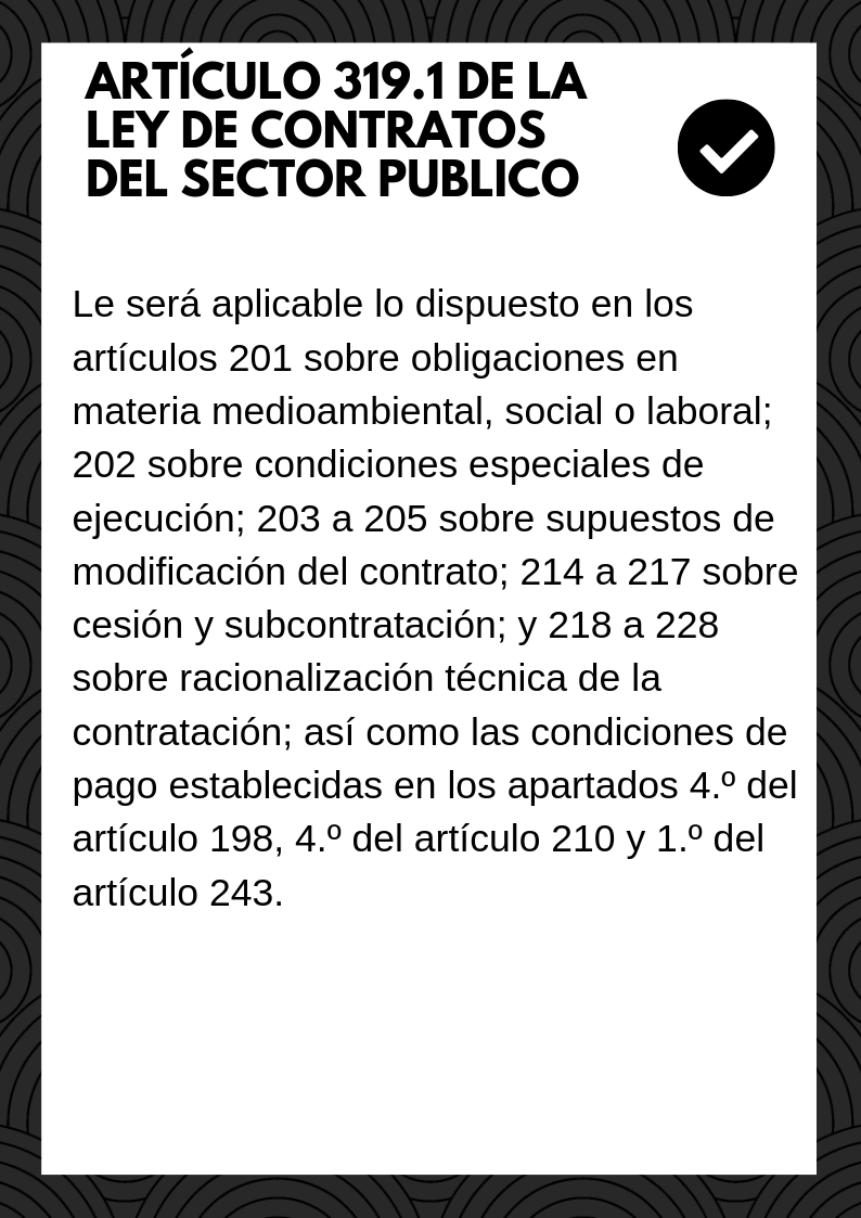 Artículo 319.1 de la ley de contratos del sector publico