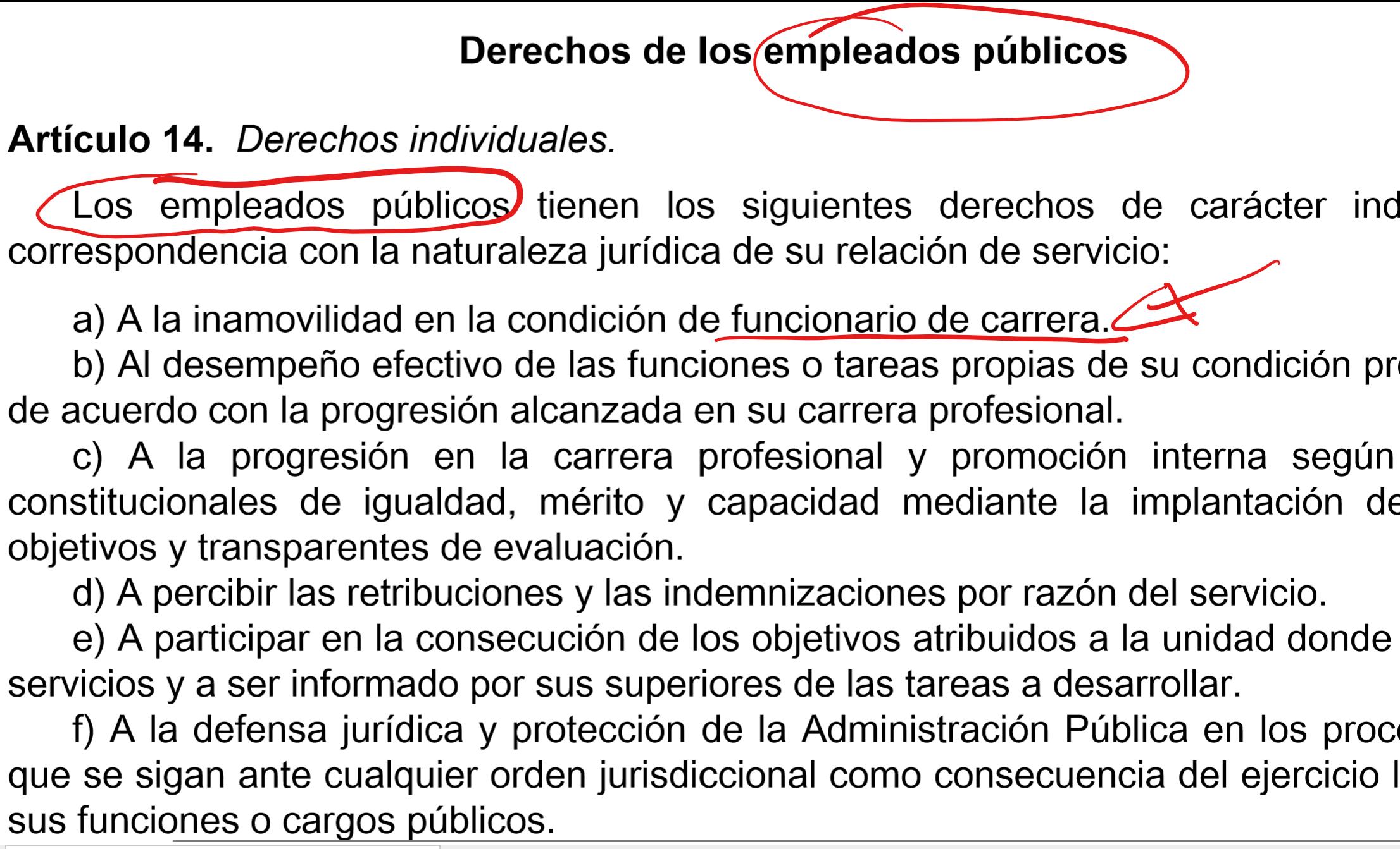 ejemplo de normas aplicables a funcionarios de carrera interinos y laboral